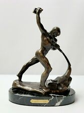 Swords Into Plowshares Mid Century Bronze on Marble Statue Yevgeny Vuchetich