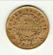 20 francs OR NAPOLEON 1 er 1814 A TTB  peu commune