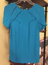 WAREHOUSE Pleated Top Teal Size UK8 Orig. $88 NEW