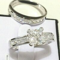 wedding ring set: 1ct princess cut simulated diamond engagement ring 925 silver