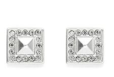 Silver Small Square Sparkly Crystal Stud Earrings