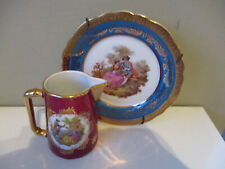 Limoges Courting Couple Scene Miniature Jug and Plate 2 pcs Red Turquoise