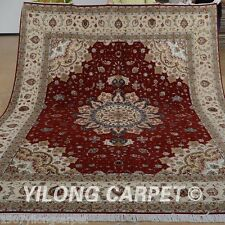 Yilong 8'x10' Wool Area Rug Hand knotted Persian Red Shag Carpets Hand made 1353