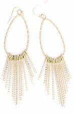Large gold drop with tassel chandelier earrings