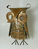 "Vintage 1970s MCM 12"" Owl Antique Brass Art Brutalist Sculpture Statue by Enesco"