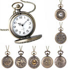 Vintage Steampunk Retro Bronze Pocket Watch Quartz Pendant Necklace Chain Gifts