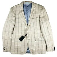 SAND Copenhagen NWT Slim Fit Star 6661 Plaid Linen Blazer Sport Coat 42 Long