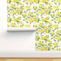Removable Water-Activated Wallpaper Lemon Watercolor Citrus Kitchen Blossom