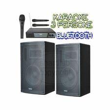 IMPIANTO KARAOKE SISTEMA ATTIVO: 2 casse amplificate 900w + microfoni wireless +