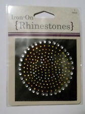 Circle Iron-On Rhinestones Aplique 2-1/2 Inches Silver & Gold Free Shipping NIP