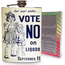 Prohibition Flask 8oz Stainless Steel Vintage Hip Flasks Vote No! Liquor Drink