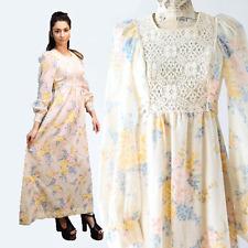 Vintage 70s floral Crochet boho hippie cocktail party Wedding Maxi dress S