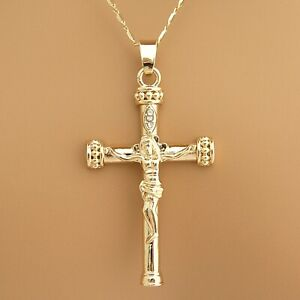 Gold Plated Jesus Cross Crucifix Religious Pendant Necklace Bar Chain + GIFT BOX
