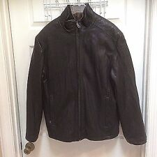 Andrew Marc Man's Medium Black Leather Coat with zippered faux fur lining