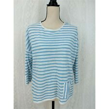 J Jill Sweater Size SP Petite 3/4 Sleeve White Blue Striped Lightweight Pullover