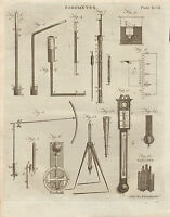 1797 Georgiano Estampado ~ Barómetro Varios Instrumentos Apparatus Basaltes