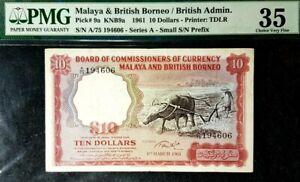 PMG 35 VF 1961 MALAYA & BRITISH BORNEO 10 Dollars B/Note(+FREE1 B/note)#17102