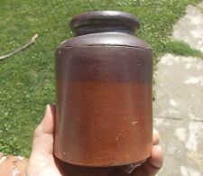 EARLY 2 TONE DIPPED STONEWARE CROCK JAR HAND THROWN ILLINOIS FARM SALE FIND!