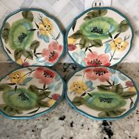 Pioneer Woman Vintage Bloom Floral Teal Salad Dessert Plates Set of 4 Farmhouse