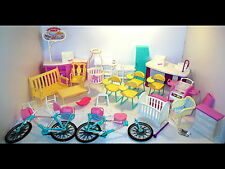 Vintage 1990s Barbie Furniture/Parts Lot School/Candy Ice Cream Parlor/Bicycle