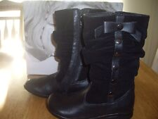 NIB Girls Size 12M Nina Kids Panic Black Smooth/Suede Fashion Boots Zippers
