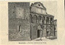 Stampa antica BENEVENTO Facciata del Duomo 1891 Old antique print