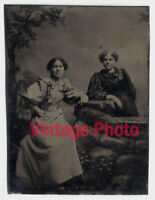 Beautiful Antique Tintype of Two Lovely Young Ladies Posing on a Rock Wall