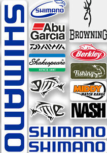 Fishing Stickers Sheet Fox Abu shimano Nash Tackle Box Decals Ideal seat Box