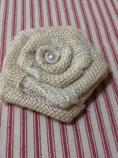 Sweet Ivory Burlap and Ivory Lace Rose Flower with Pearl Rustic Shabby Chic