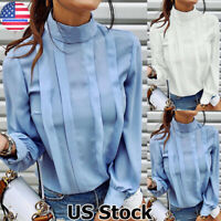 Women Chiffon Long Sleeve High Neck Tops Ladies OL Work Office Shirt Tops Blouse