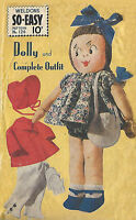 Vintage 1940's Sewing Pattern Make Do & Mend WWII Rag Doll Dolly & Clothes RARE