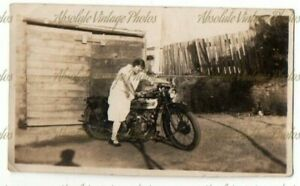 OLD PHOTOGRAPH LADY ON A DOUGLAS MOTORCYCLE VINTAGE 1920S