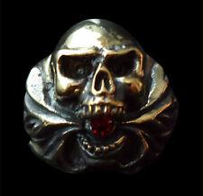 Bronze hell fire Skull Biker Ring red crystal custom size Chopper magic R-163b