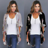 Women Holiday Lace Floral Kimono Cardigan Ladies Summer Tops Blouse Plus Size