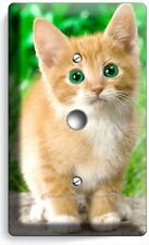 CUTE GREEN EYES KITTEN KITTY CAT LIGHT DIMMER CABLE WALL PLATE COVER HOME DECOR