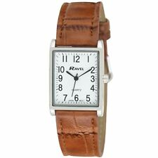 Ravel Ladies Fashion Rectangle Shape Dial Leather Strap Watch R0120 Brown