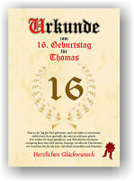 Geschenkidee zum 16. Geburtstag Urkunde Geburtstagsurkunde Geburtstagskarte NEU