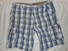 Wrangler shorts men cargo 6 pocket TECH POCKETS blue plaid 100% cotton 40 x 10