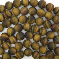"""Matte Tiger Eye Round Beads Gemstone 15"""" Strand 4mm 6mm 8mm 10mm 12mm"""