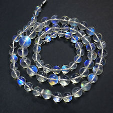 "18K Solid White Gold Diamond 259CT Large Rainbow Moonstone Bead 23.8"" Necklace"