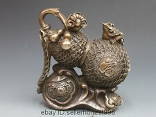 China Folk Copper Bronze Attract Wealth Golden toad Home Fengshui Gourd Statue