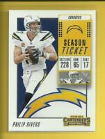 Philip Rivers 2018 Contenders Season Ticket Card # 48 L A Chargers Football NFL