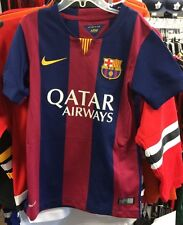 Team FC Barcelona Soccer Jersey Short Sleeves Spanish League Medium Boys Youth