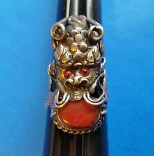 RARE ANTIQUE CHINESE STERLING SILVER DRAGON RING CORAL SIZE 9