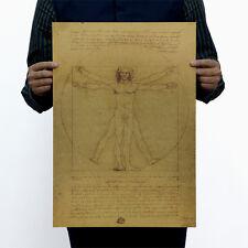 Poster Vintage Art Wall Decor Bar Shop Leonardo da Vinci Man Drawing 14x20 Inch