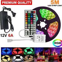12V 5M 5050 RGB LED Strip Lights waterproof 44key Remote / Controller 6A Adapter