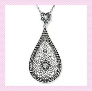 NWT Brighton SAHURI DROP Short Teardrop Crystal Silver Necklace MSRP $118