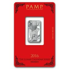 PAMP Suisse Lunar Year of the Monkey 2016 10 g gram .999 Silver Bar (in Assay)