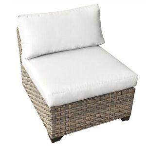 TKC Monterey Armless Patio Chair in White