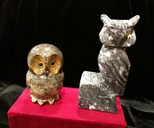 Set of 2 Carved Alabaster Italian Marble Stone Owls Paperweight Figurine Vintage